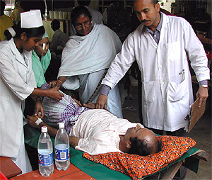 A cholera patient being attended to at the International Centre for Diarrhoeal Disease Research in Dhaka, Bangladesh.