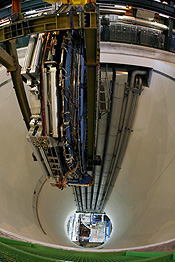 The last element of the ATLAS experiment is lowered into the cave at the CERN in Meyrin near Geneva. REUTERS/Denis Balibouse.