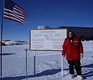 Susan Solomon does research on both ozone depletion and climate change, and she is pictured here at the South Pole.